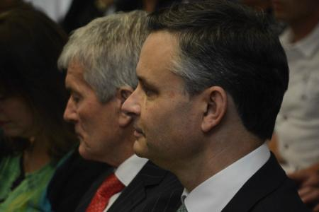 Climate Change Minister James Shaw with Agriculture Minister Damien O'Connor at his side at the Zero Carbon Bill launch