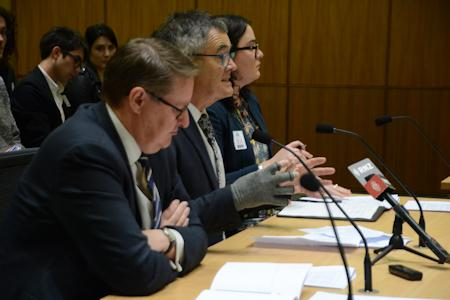 Local Government NZ at the Select Committee: Malcolm Alexander, CEO; Dave Cull, President; Grace Hall, Principal Policy Advisor.