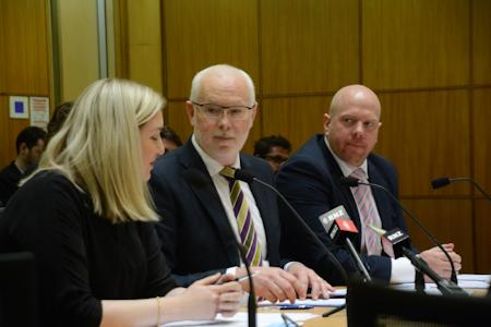 Fonterra at the Select Committee: Bridget Service, GM, NZ Government Affairs; Mike Cronin, MD, Co-operative Affairs; Andrew Kempson, Sustainable Dairying Programme Leader