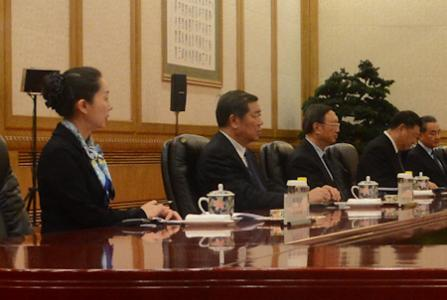 China's Ambassador to NZ, Wu Xi, at the negotiating table with President Xi Jinping (4th from left) during talks with the New Zealand delegation in April in Beijing.