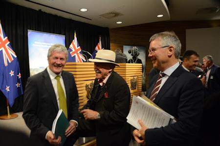 Agriculture Minister, Damien O'Connor; former Labour Minister and Te Kahui Wai member, Dover Samuels and Environment Minister, David Parker