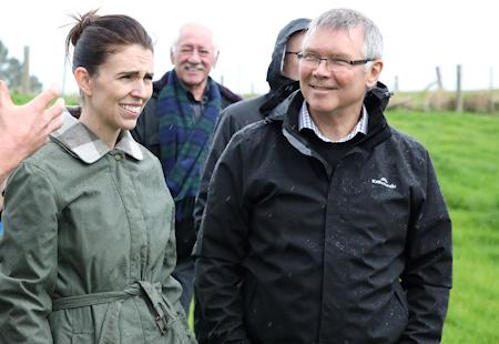 The Prime Minister, Jacinda Ardern and Environment Minister, David Parker at Titoki to launch the Government's campaign to reduce sediment in waterways.